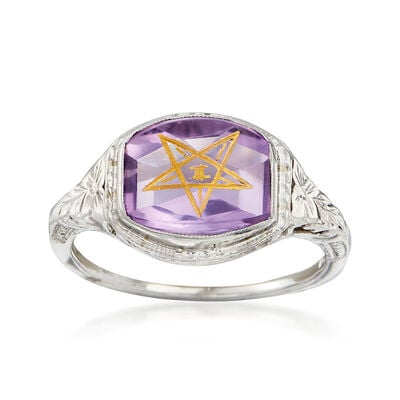 C. 1950 Vintage 3.20 Carat Amethyst Masonic Star Ring in 14kt White Gold, , default