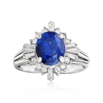 C. 2000 Vintage 2.36 Carat Certified Sapphire and .46 ct. t.w. Diamond Ring in Platinum