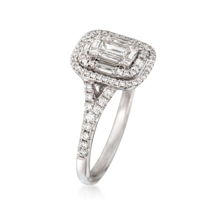 .82 ct. t.w. Baguette and Round Diamond Ring in 18kt White Gold