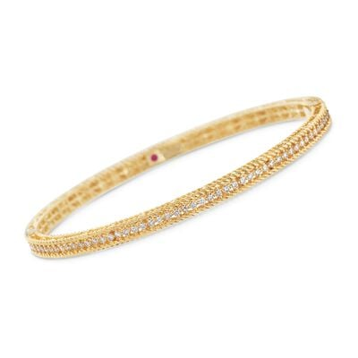 "Roberto Coin .61 ct. t.w. Diamond ""Symphony Princess"" Bangle Bracelet in 18kt Yellow Gold, , default"