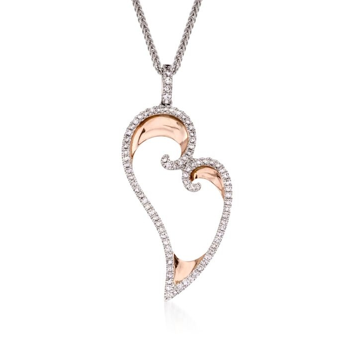 """Simon G. .50 Carat Total Weight Diamond and 18-Karat Two-Tone Gold Heart Necklace. 17"""""""