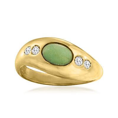 C. 1980 Vintage Aventurine Ring with .12 ct. t.w. Diamonds in 14kt Yellow Gold