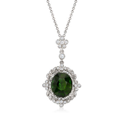 C. 1990 Vintage 5.85 Carat Green Tourmaline Pendant Necklace with .50 ct. t.w. Diamonds in 14kt and 18kt White Gold