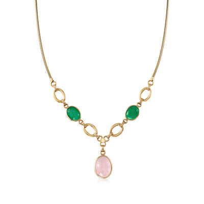 C. 1970 Vintage Rose Quartz and Chalcedony Scarab Necklace in 14kt Yellow Gold, , default