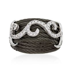 "ALOR ""Noir"" .32 ct. t.w. Diamond Black Cable Ring With 18kt White Gold, , default"