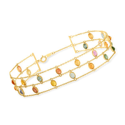 C. 1990 Vintage 7.90 ct. t.w. Multicolored Sapphire Two-Row Bracelet in 18kt Yellow Gold