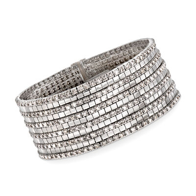 C. 1980 Vintage 9.00 ct. t.w. Diamond Multi-Row Bracelet in 18kt White Gold, , default
