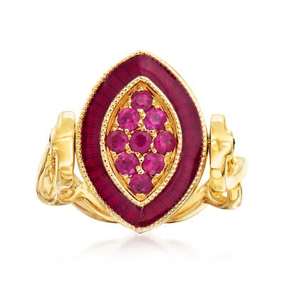 C. 1980 Vintage .48 ct. t.w. Ruby and .48 ct. t.w. Sapphire Ring in 18kt Yellow Gold, , default