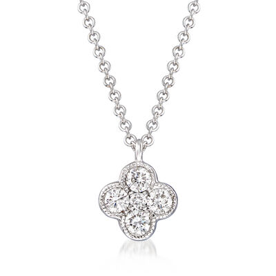 Gabriel Designs .25 ct. t.w. Diamond Cluster Pendant Necklace in 14kt White Gold, , default