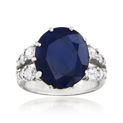 C. 1970 Vintage 7.50 Carat Sapphire and 1.00 ct. t.w. Diamond Ring in 14kt White Gold, , default