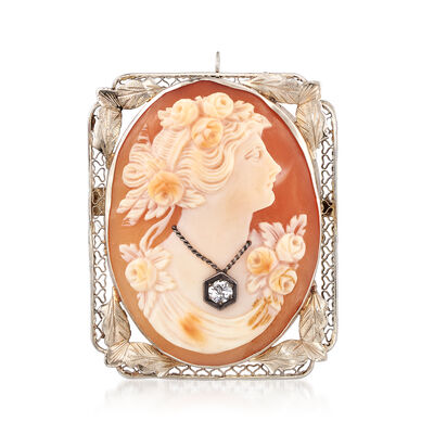 C. 1950 Vintage Oval Shell Cameo Pin Pendant in 14kt White Gold, , default