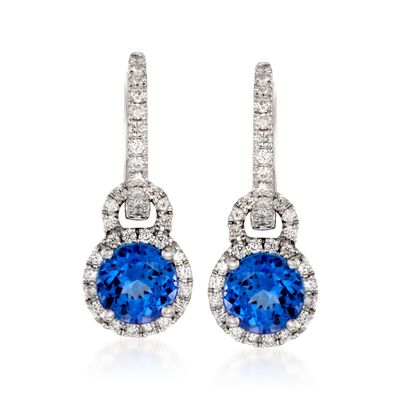 Simon G. 1.96 ct. t.w. Tanzanite and .37 ct. t.w.  Diamond Drop Earrings in 18kt White Gold, , default