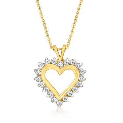 C. 1990 Vintage 1.00 ct. t.w. Diamond Heart Pendant Necklace in 14kt Yellow Gold