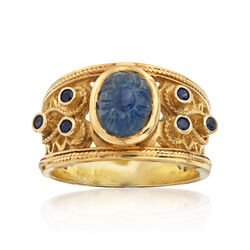 C.1980 Vintage 2.18 ct. t.w. Carved Sapphire Ring in 14kt Yellow Gold, , default