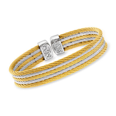 """ALOR """"Classique"""" Multi-Strand Yellow and White Stainless Steel Cable Cuff Bracelet"""