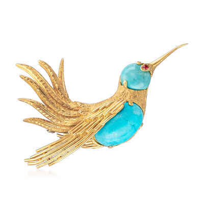 C. 1970 Vintage Turquoise and Ruby-Accented Bird Pin in 18kt Yellow Gold, , default