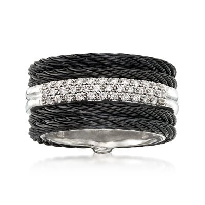 "ALOR ""Noir"" .28 ct. t.w. Diamond Black Stainless Steel Cable Ring with 18kt White Gold, , default"