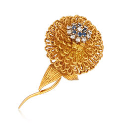 C. 1970 Vintage Hammerman Brothers .55 ct. t.w. Diamond and .35 ct. t.w. Sapphire Floral Pin in 18kt Gold, , default