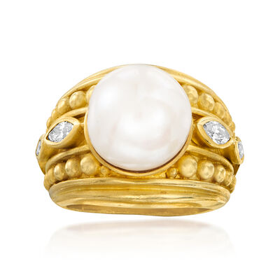 C. 1980 Vintage Judith Ripka 12mm Cultured Pearl and .50 ct. t.w. Diamond Ring in 18kt Yellow Gold