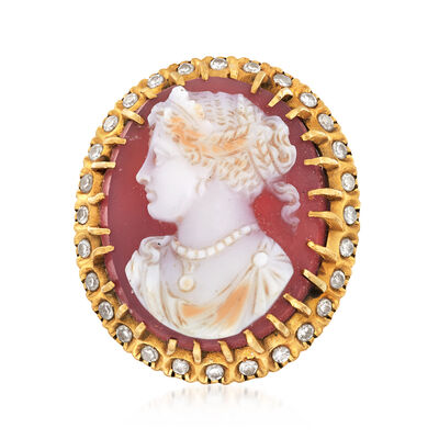 C. 1950 Vintage Agate Cameo Ring with .45 ct. t.w. Diamonds in 18kt Yellow Gold, , default