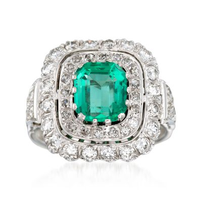 C. 1980 Vintage 1.90 Carat Emerald and 1.25 ct. t.w. Diamond Ring in 14kt White Gold, , default