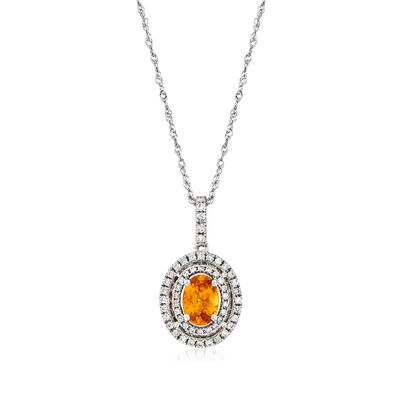 C. 1990 Vintage .68 Carat Mandarin Garnet and .25 ct. t.w. Diamond Pendant Necklace in 14kt White Gold