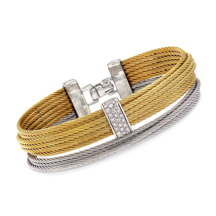 """ALOR """"Classique"""" .25 ct. t.w. Diamond Yellow and Gray Stainless Steel Multi-Strand Cable Bracelet. 7"""""""