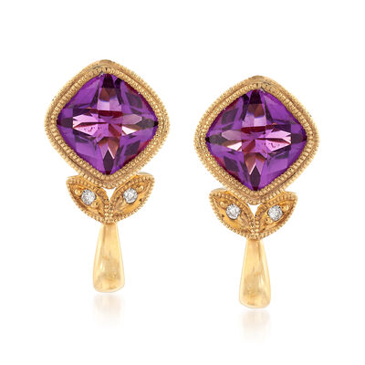 C. 1990 Vintage 1.50 ct. t.w. Amethyst Earrings with Diamond Accents in 14kt Yellow Gold, , default