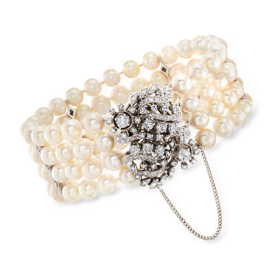 C. 1980 Vintage 6.5-7mm Cultured Pearl and 2.75 ct. t.w. Diamond Bracelet with 14kt White Gold