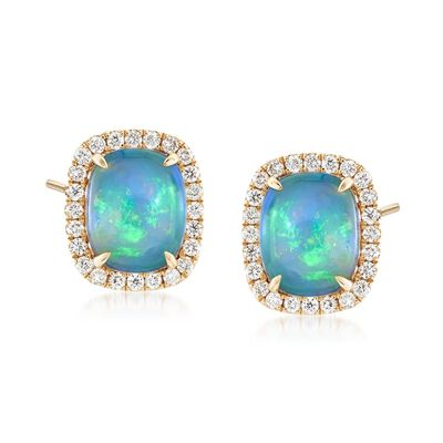 Ethiopian Opal and .43 ct. t.w. Diamond Earrings in 14kt Yellow Gold, , default