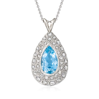 C. 1980 Vintage 3.15 Carat Sky Blue Topaz and 1.15 ct. t.w. Diamond Pendant Necklace in Platinum and 14kt White Gold