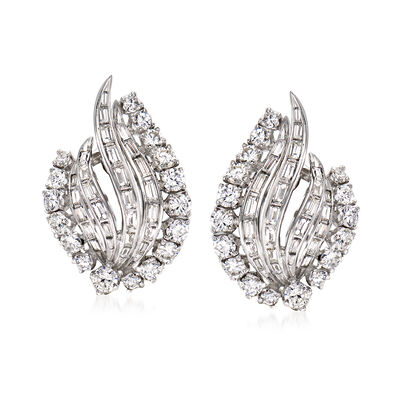 C. 1970 Vintage 4.00 ct. t.w. Diamond Curve Earrings in Platinum