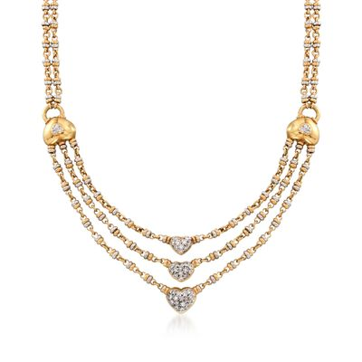 C. 1990 Vintage .75 ct. t.w. Diamond Heart Necklace in 18kt Two-Tone Gold, , default