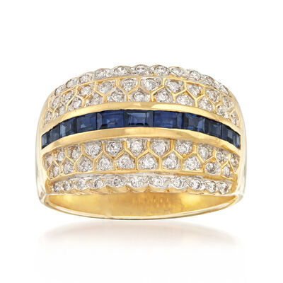 C. 1980 Vintage 1.10 ct. t.w. Sapphire and .65 ct. t.w. Diamond Ring in 14kt Yellow Gold, , default