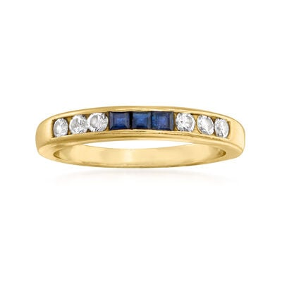 C. 1980 Vintage .20 ct. t.w. Channel-Set Diamond and .15 ct. t.w. Sapphire Ring in 14kt Yellow Gold