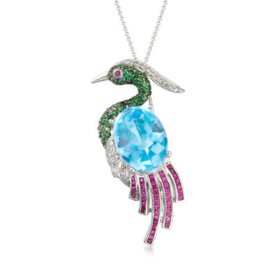 C. 1980 Vintage 18.00 Carat Sky Blue Topaz Bird Pin/Pendant Necklace with 1.92 ct. t.w. Multi-Gems and .13 ct. t.w. Diamonds in 18kt White Gold