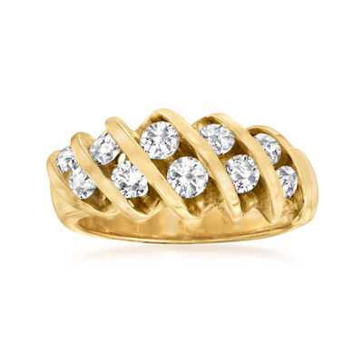 C. 1980 Vintage 1.00 ct. t.w. Diamond Twisted Row Ring in 14kt Yellow Gold