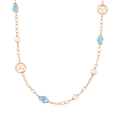 C. 1990 Vintage Mimi Milano 30.00 ct. t.w. Blue Topaz and 9x10mm Cultured Pearl Station Necklace in 18kt Rose Gold, , default