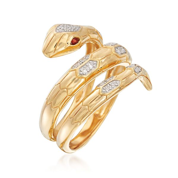 .10 ct. t.w. Diamond Snake Wrap Ring with Garnet Accents in 18kt Gold Over Sterling. #890061