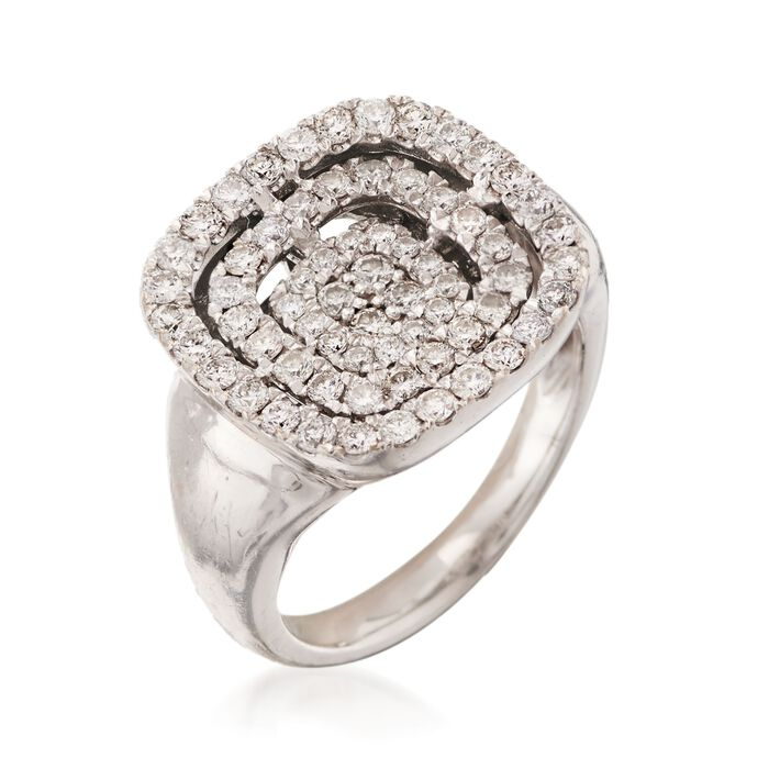 C. 1990 Vintage 1.15 ct. t.w. Pave Diamond Square Ring in 14kt White Gold