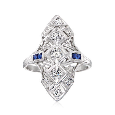 C. 1980 Vintage .55 ct. t.w. Diamond Dinner Ring with Synthetic Sapphire Accents in 18kt White Gold