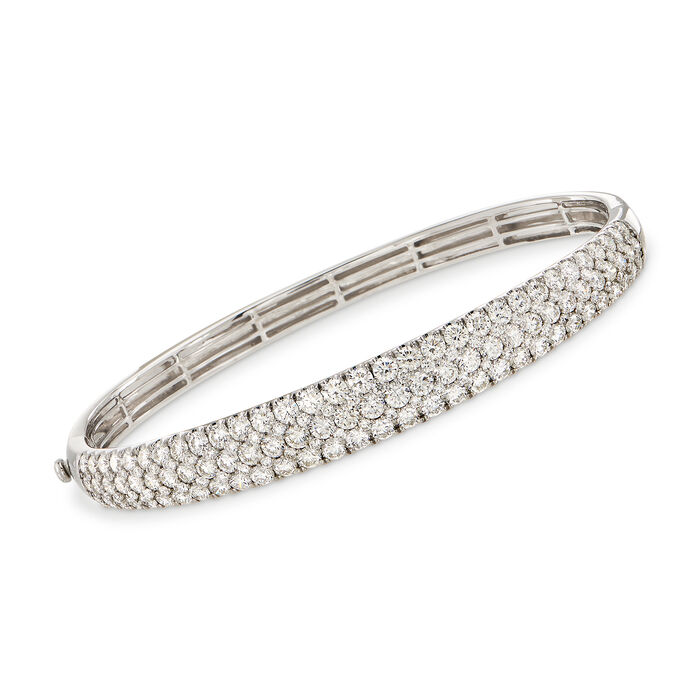 "Simon G. 5.42 ct. t.w. Diamond Bangle Bracelet in 18kt White Gold. 7"", , default"