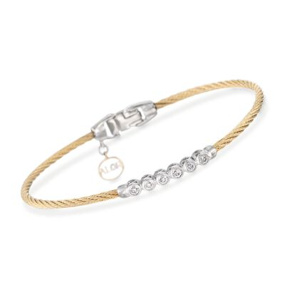 "ALOR ""Classique"" .14 ct. t.w. Diamond Yellow Cable Bracelet With 18kt Two-Tone Gold, , default"