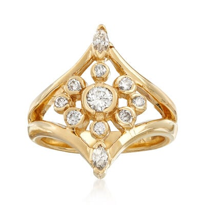 C. 1980 Vintage .65 ct. t.w. Diamond Cluster Ring in 14kt Yellow Gold, , default