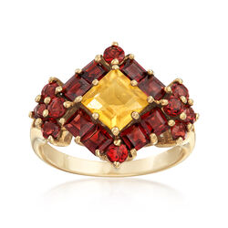 C. 2000 Vintage 1.42 ct. t.w. Garnet and .98 Carat Citrine Cluster Ring in 10kt Yellow Gold, , default