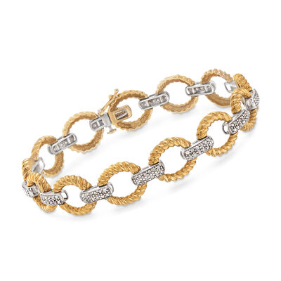 C. 1980 Vintage 1.25 ct. t.w. Diamond Link Bracelet in 14kt Two-Tone Gold , , default
