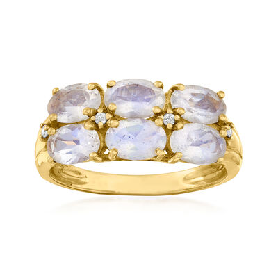 C. 1980 Vintage Moonstone Double-Row Ring with Diamond Accents in 14kt Yellow Gold