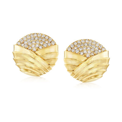 C. 1980 Vintage Jose Hess 4.00 ct. t.w. Diamond Clip-On Earrings in 18kt Yellow Gold