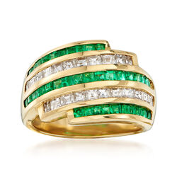 C. 1990 Vintage .98 ct t.w. Emerald and .91 ct. t.w. Diamond Multi-Row Ring in 18kt Yellow Gold, , default