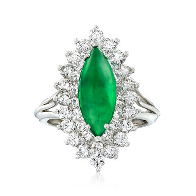 C. 1980 Vintage Nephrite and 1.45 ct. t.w. Diamond Ring in 18kt White Gold, , default